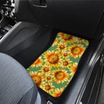 Sage Watercolor Sunflower Pattern Print Front Car Floor Mats