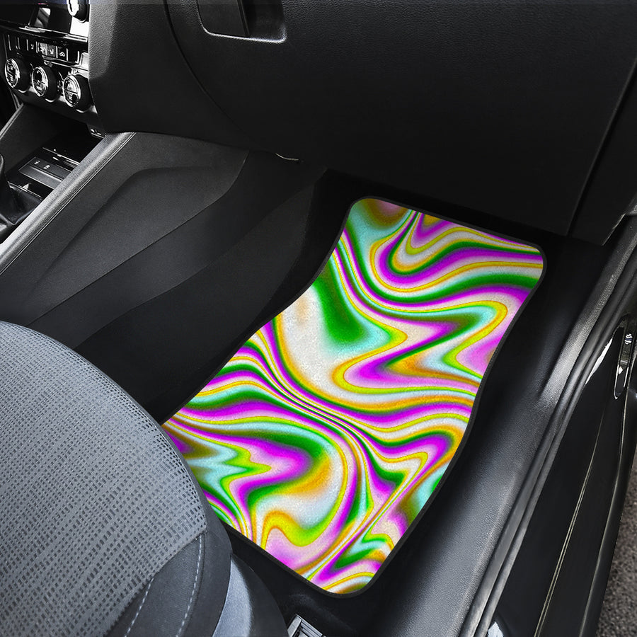Abstract Holographic Liquid Trippy Print Front Car Floor Mats