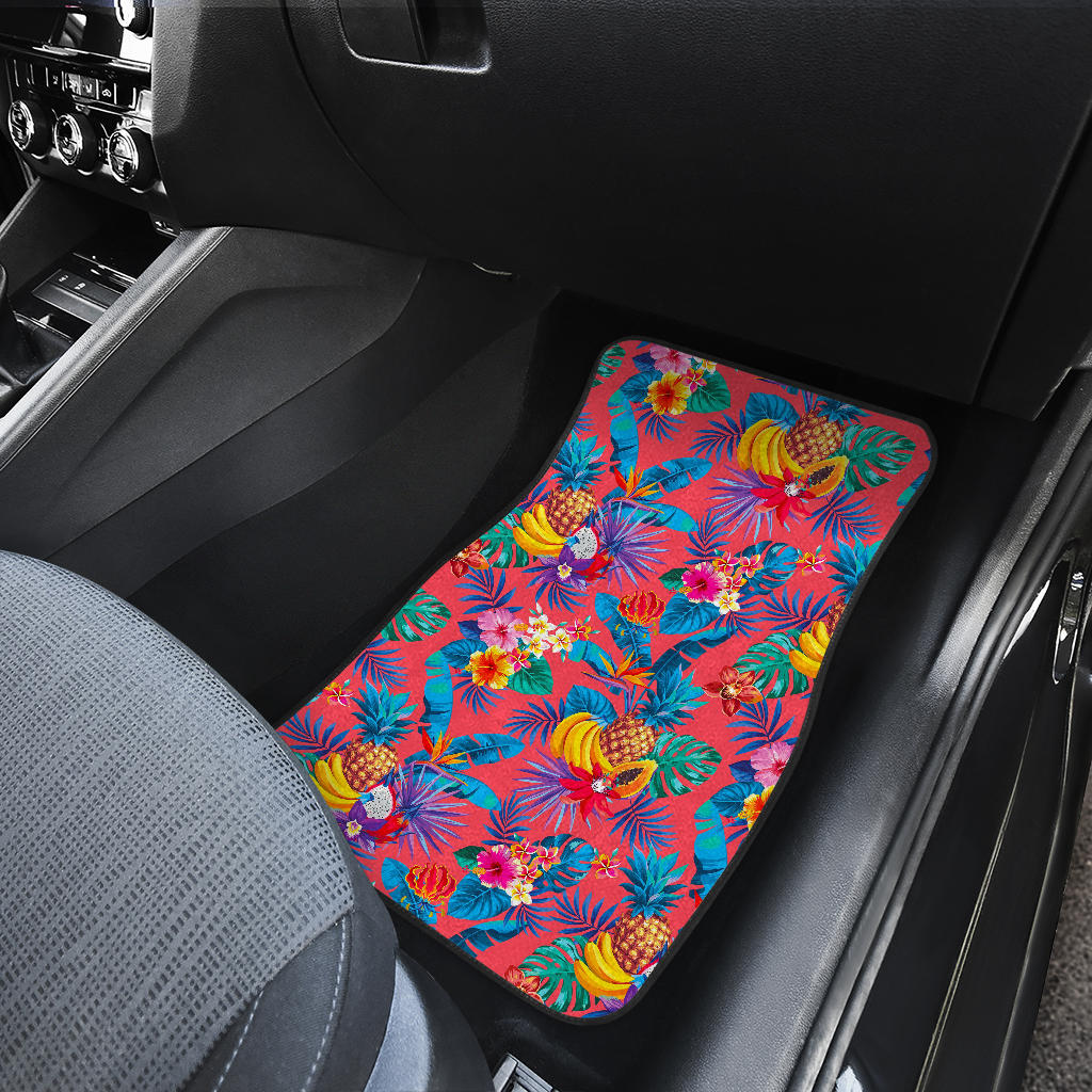 Pink Hawaiian Fruits Pattern Print Front Car Floor Mats