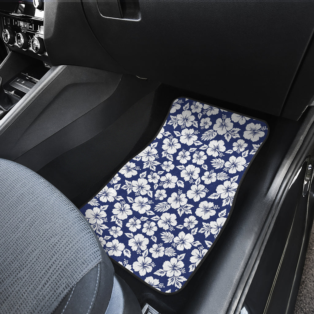 White Blue Hibiscus Floral Pattern Print Front Car Floor Mats