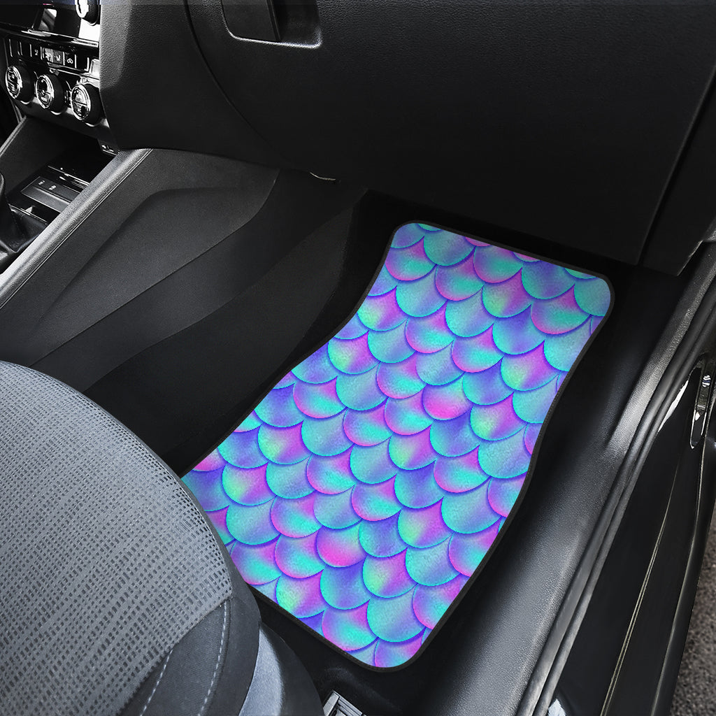 Teal Purple Mermaid Scales Pattern Print Front Car Floor Mats