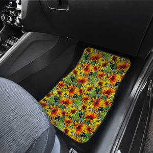 Autumn Sunflower Pattern Print Front Car Floor Mats