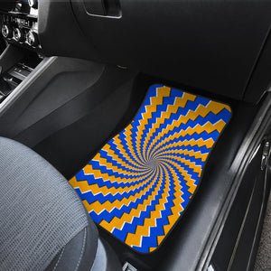 Yellow Spiral Moving Optical Illusion Front Car Floor Mats