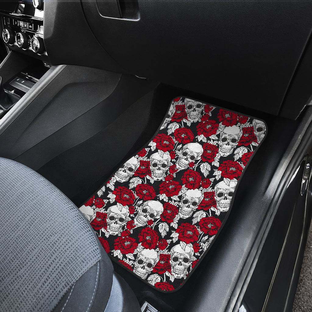 Red Peony Skull Pattern Print Front Car Floor Mats