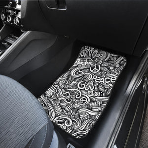 Graffiti Surfing Pattern Print Front Car Floor Mats