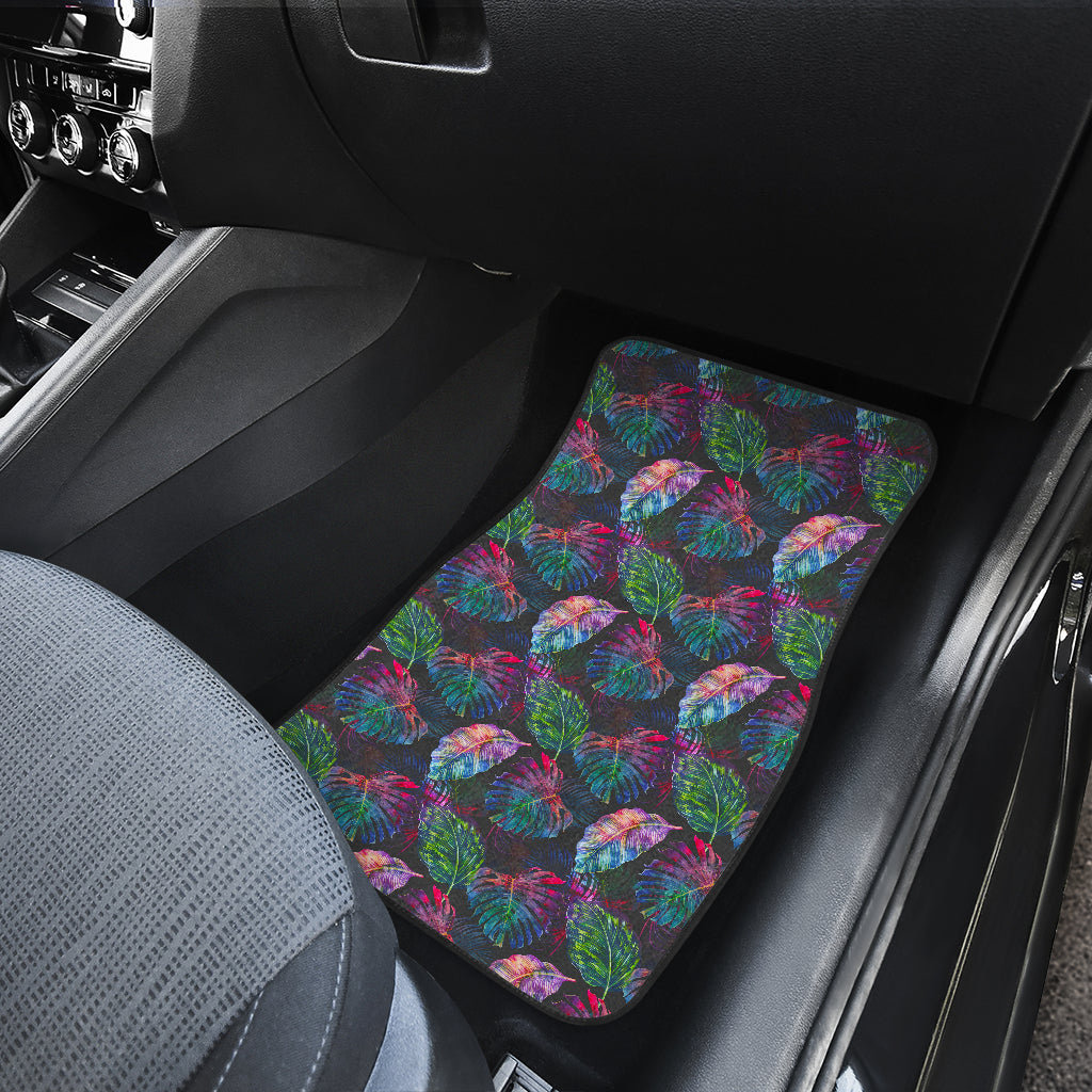 Colorful Tropical Leaves Pattern Print Front Car Floor Mats