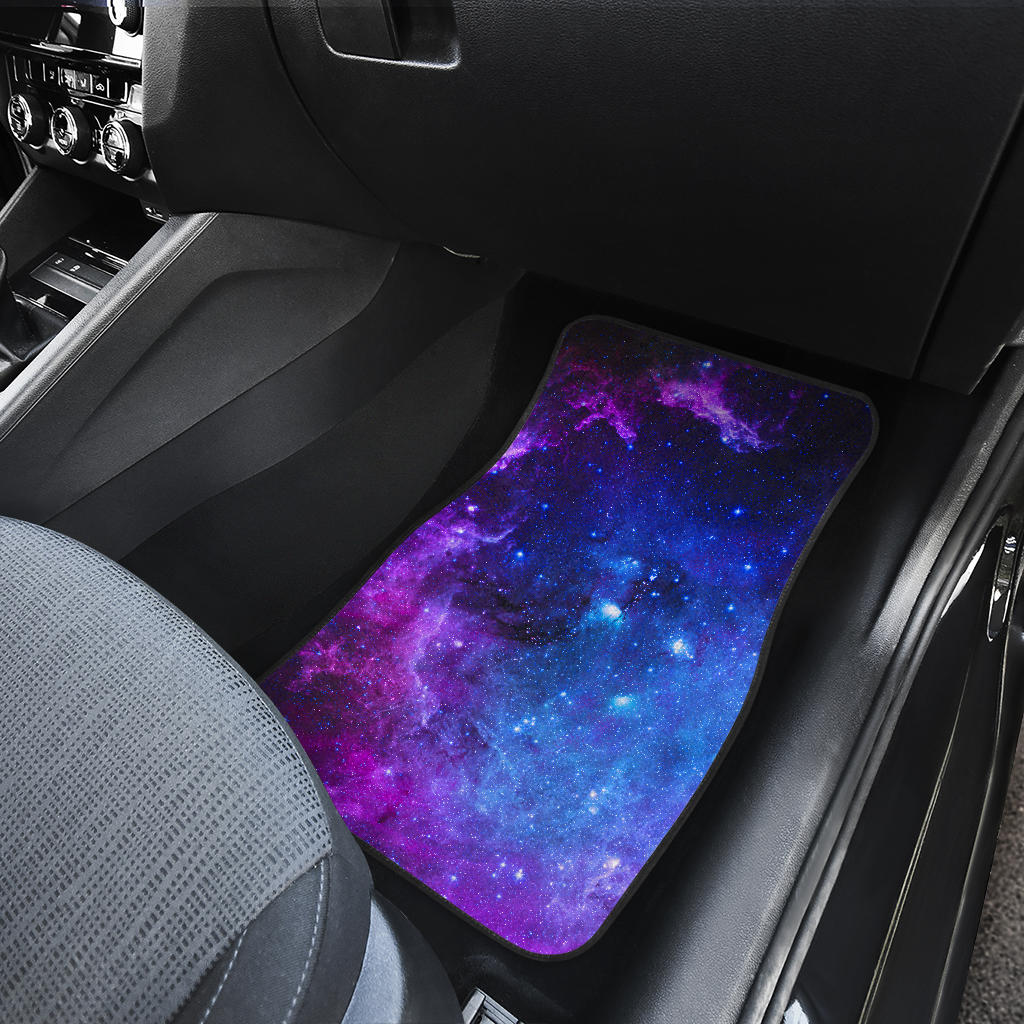 Purple Galaxy Space Blue Starfield Print Front Car Floor Mats