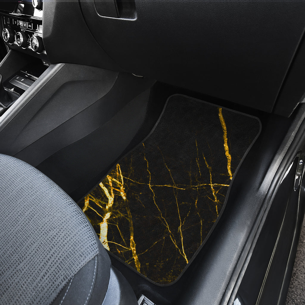 Black Gold Scratch Marble Print Front Car Floor Mats