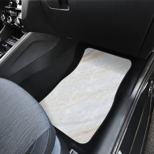 White Brown Smooth Marble Print Front Car Floor Mats