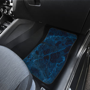 Dark Blue Marble Print Front Car Floor Mats