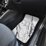 White Gray Scratch Marble Print Front Car Floor Mats