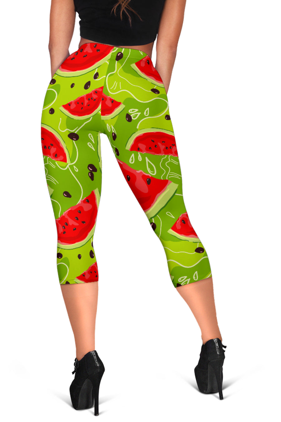 Yummy Watermelon Pieces Pattern Print Women's Capri Leggings