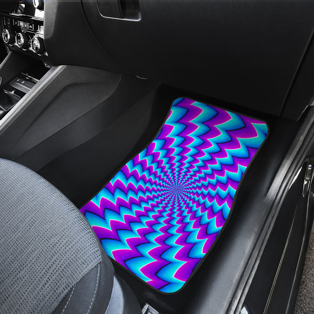 Blue Dizzy Moving Optical Illusion Front Car Floor Mats