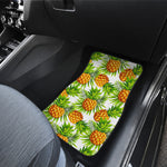 White Tropical Pineapple Pattern Print Front Car Floor Mats