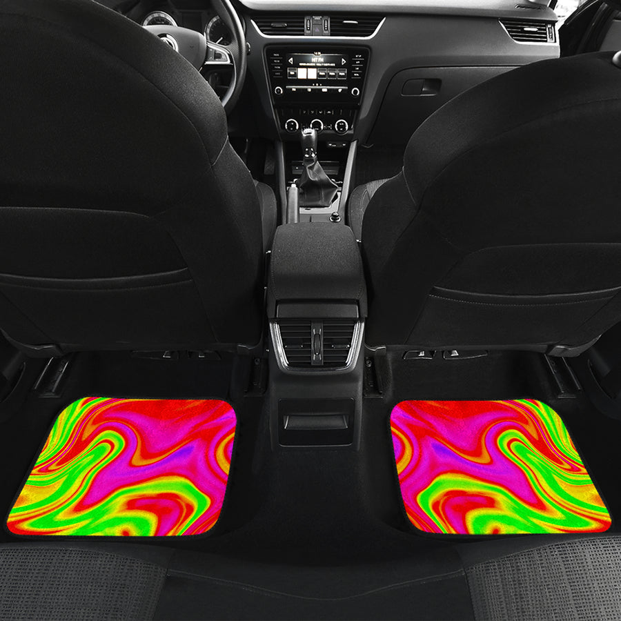 Abstract Colorful Liquid Trippy Print Front and Back Car Floor Mats