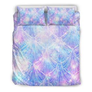 Galaxy Mermaid Scales Pattern Print Duvet Cover Bedding Set GearFrost