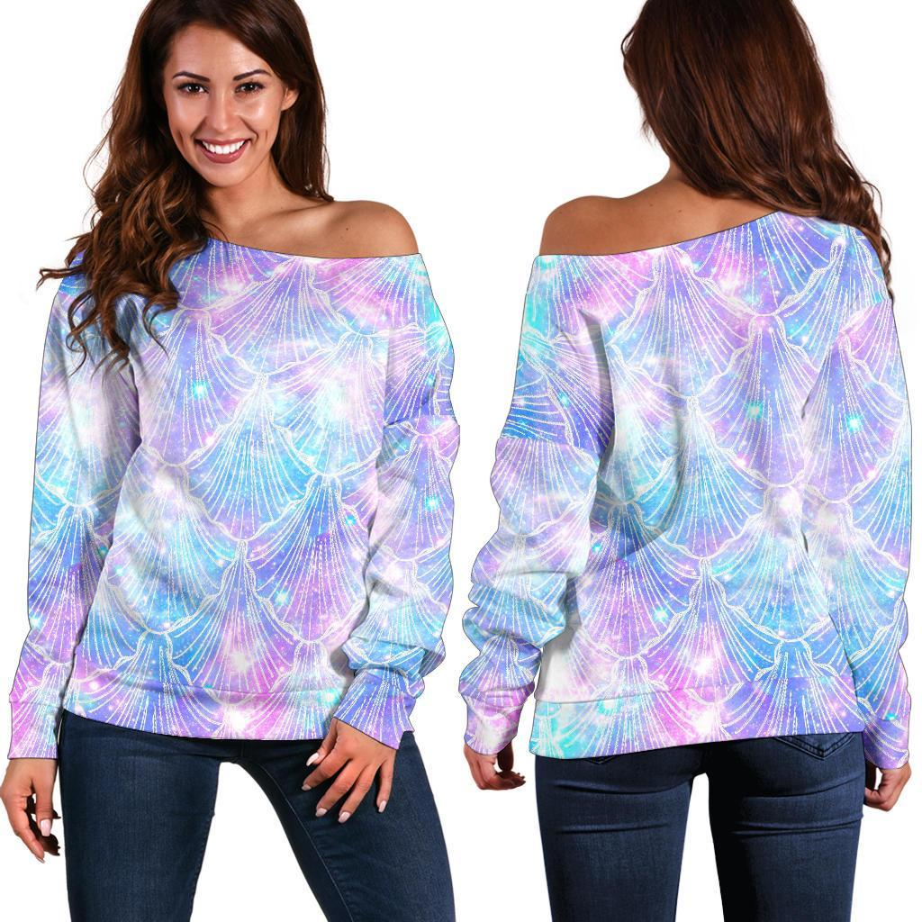Galaxy Mermaid Scales Pattern Print Off Shoulder Sweatshirt GearFrost