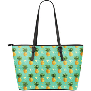 Geometric Pineapple Pattern Print Leather Tote Bag GearFrost