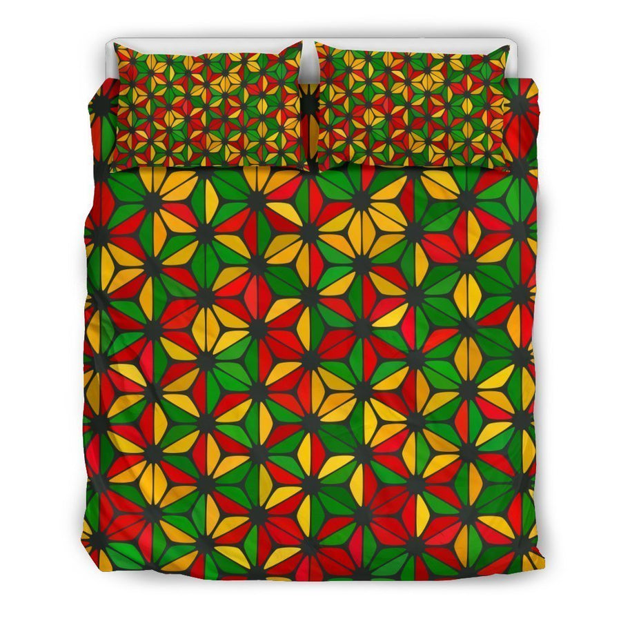 Geometric Reggae Pattern Print Duvet Cover Bedding Set GearFrost