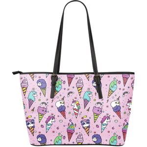 Girly Unicorn Ice Cream Pattern Print Leather Tote Bag GearFrost