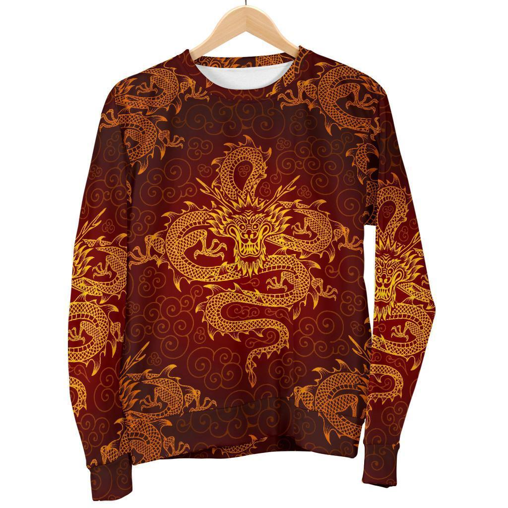 Gold Chinese Dragon Pattern Print Men's Crewneck Sweatshirt GearFrost