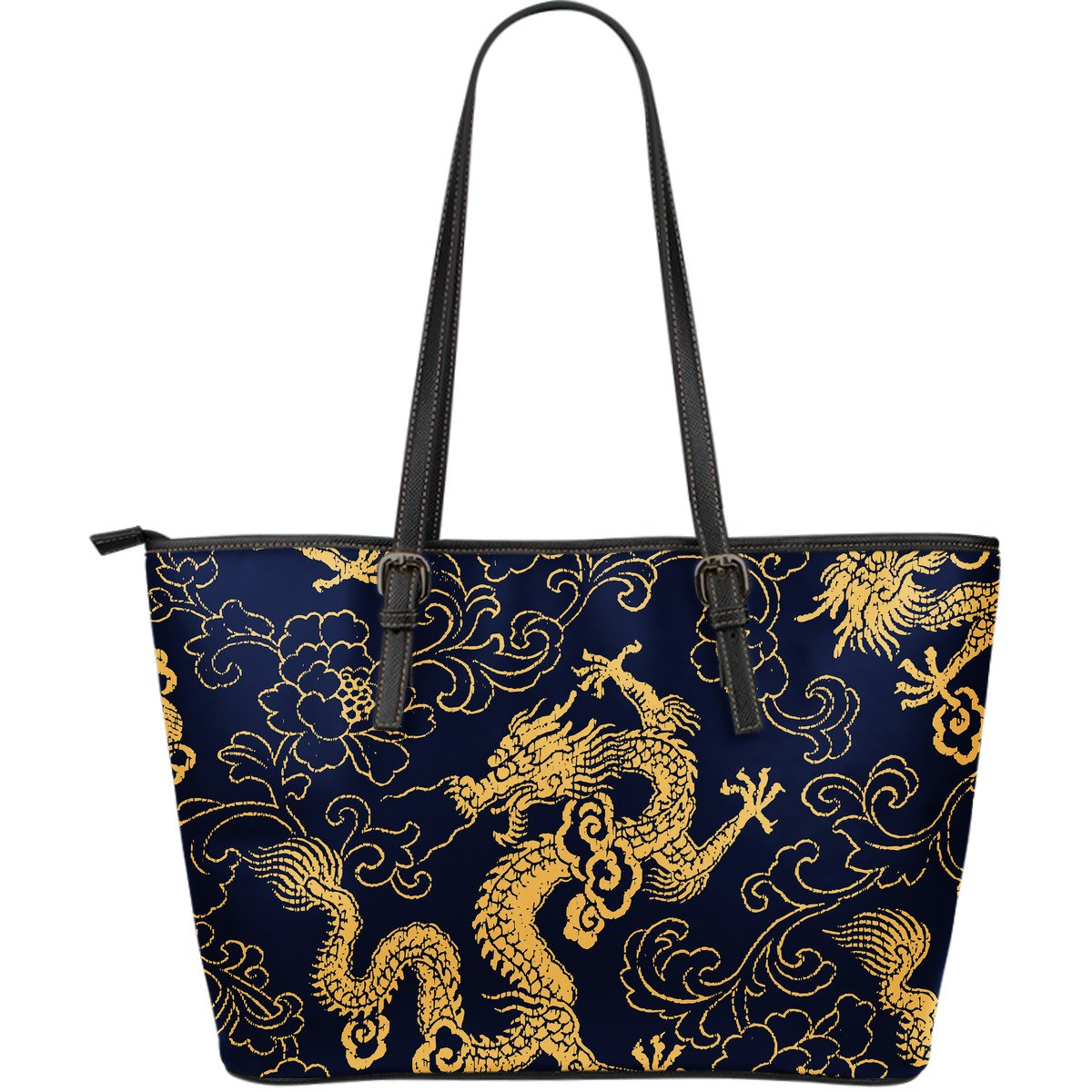 Gold Japanese Dragon Pattern Print Leather Tote Bag GearFrost