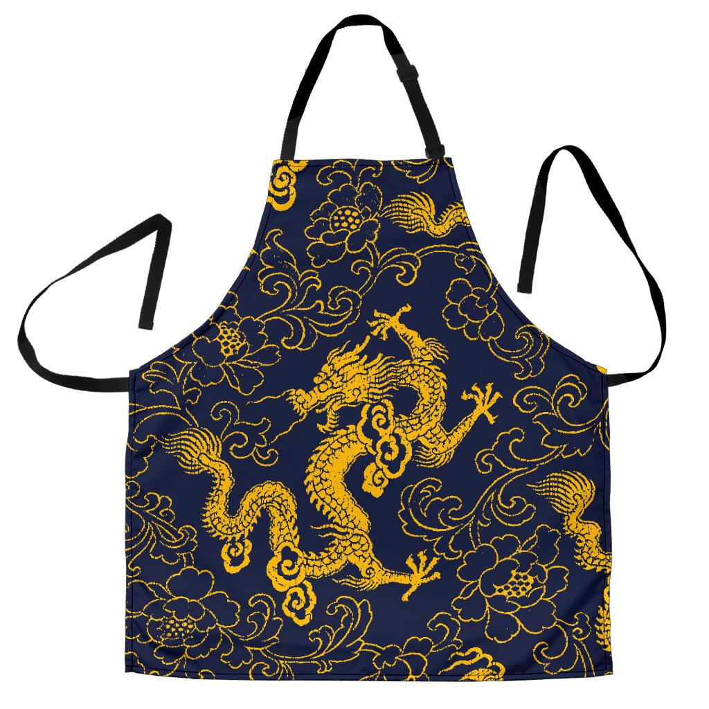Gold Japanese Dragon Pattern Print Men's Apron GearFrost