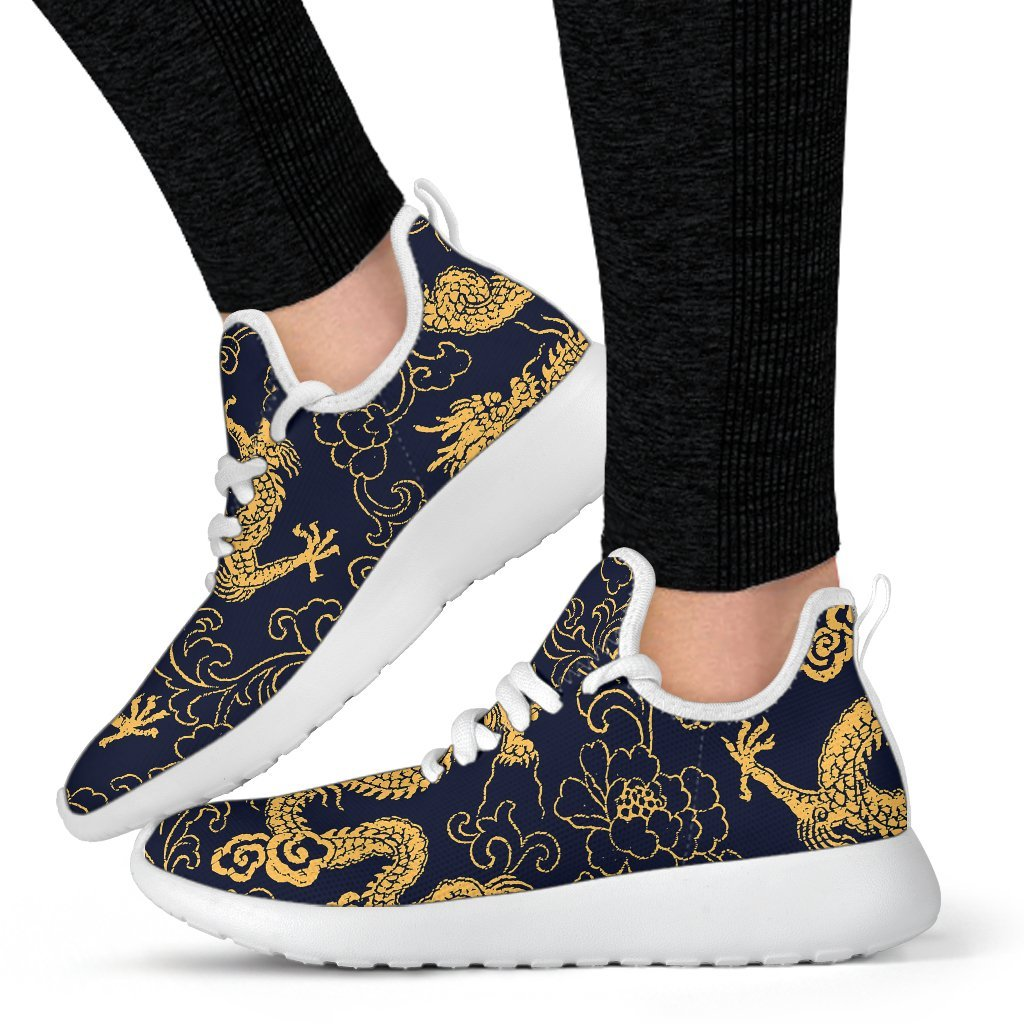 Gold Japanese Dragon Pattern Print Mesh Knit Shoes GearFrost