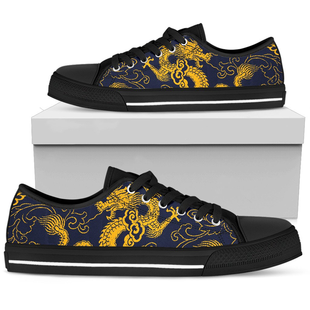 Gold Japanese Dragon Pattern Print Women's Low Top Shoes GearFrost
