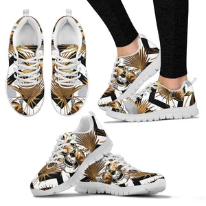 Gold Tropical Skull Pattern Print Women's Sneakers GearFrost