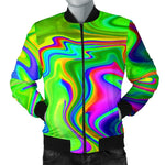 Green Abstract Liquid Trippy Print Men's Bomber Jacket GearFrost