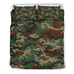 Green And Brown Camouflage Print Duvet Cover Bedding Set GearFrost