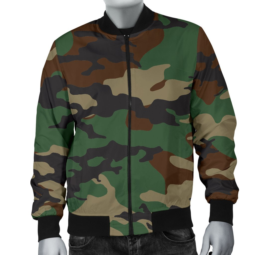 Green And Brown Camouflage Print Men's Bomber Jacket GearFrost