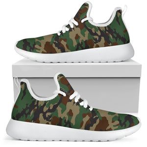 Green And Brown Camouflage Print Mesh Knit Shoes GearFrost