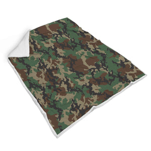 Green And Brown Camouflage Print Sherpa Blanket GearFrost