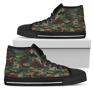 Green And Brown Camouflage Print Women's High Top Shoes GearFrost
