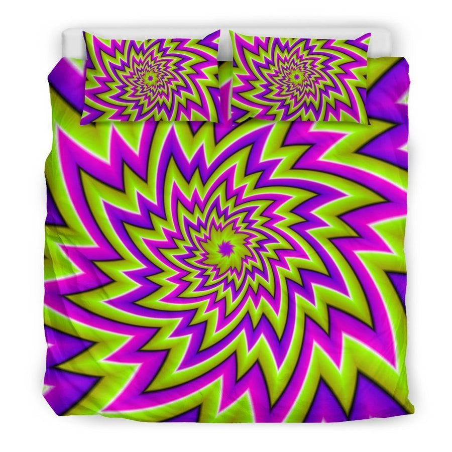 Green Big Bang Moving Optical Illusion Duvet Cover Bedding Set GearFrost