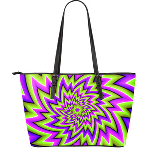 Green Big Bang Moving Optical Illusion Leather Tote Bag GearFrost