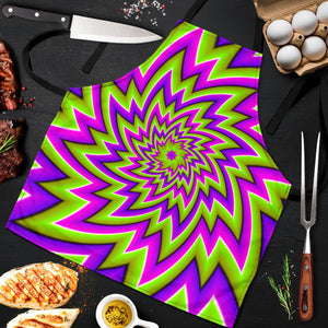 Green Big Bang Moving Optical Illusion Men's Apron GearFrost