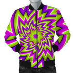 Green Big Bang Moving Optical Illusion Men's Bomber Jacket GearFrost
