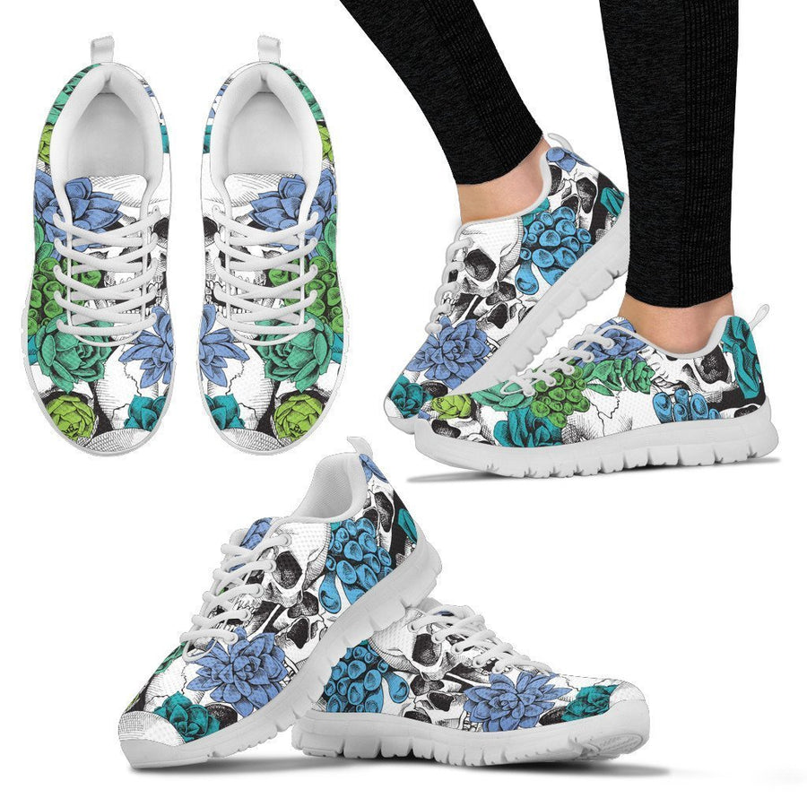 Green Blue Flowers Skull Pattern Print Women's Sneakers GearFrost
