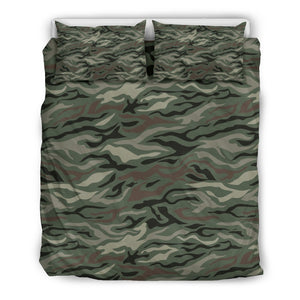 Green Camo Zebra Pattern Print Duvet Cover Bedding Set GearFrost
