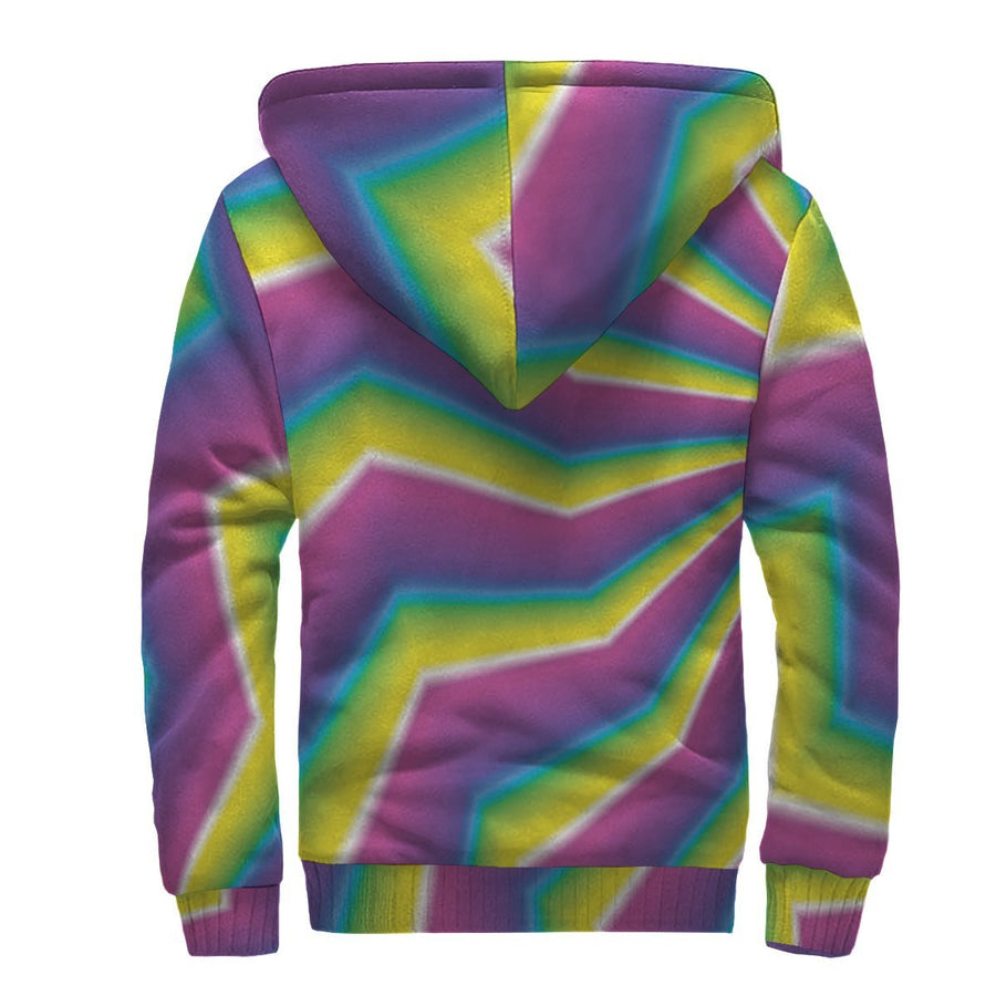 Green Dizzy Moving Optical Illusion Sherpa Lined Fleece Hoodie GearFrost