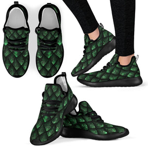 Green Dragon Scales Pattern Print Mesh Knit Shoes GearFrost