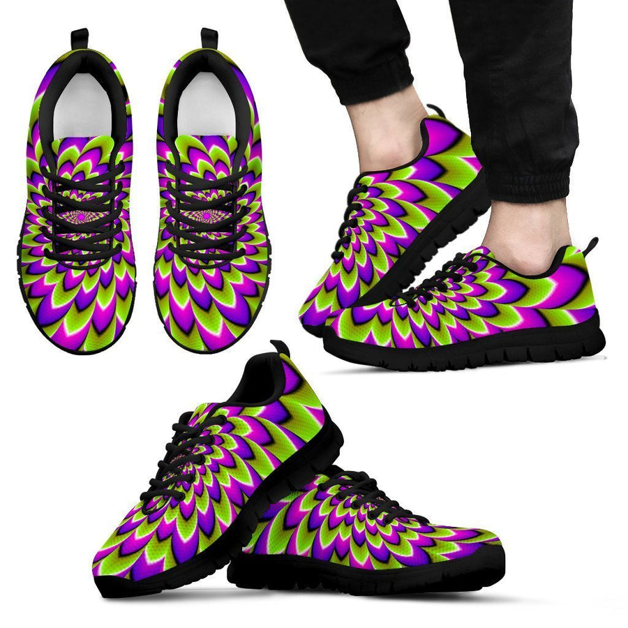 Green Expansion Moving Optical Illusion Men's Sneakers GearFrost