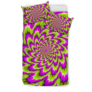 Green Explosion Moving Optical Illusion Duvet Cover Bedding Set GearFrost