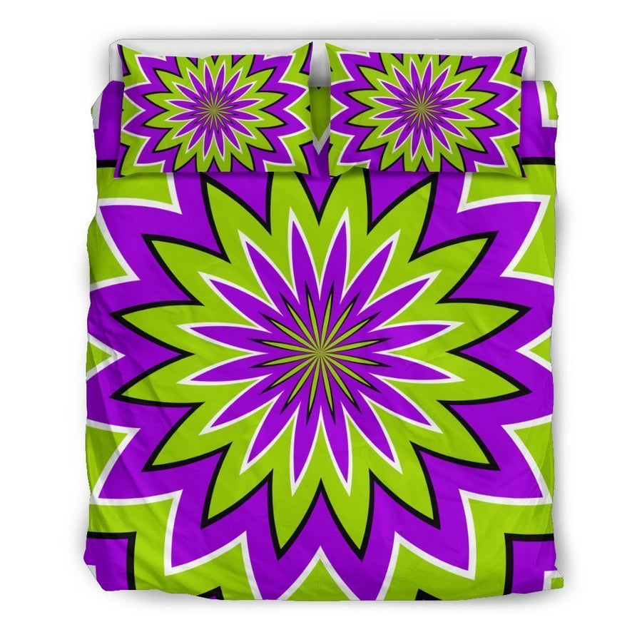 Green Flower Moving Optical Illusion Duvet Cover Bedding Set GearFrost