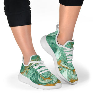 Green Gold Liquid Marble Print Mesh Knit Shoes GearFrost