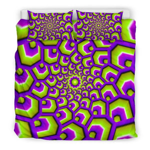 Green Hive Moving Optical Illusion Duvet Cover Bedding Set GearFrost