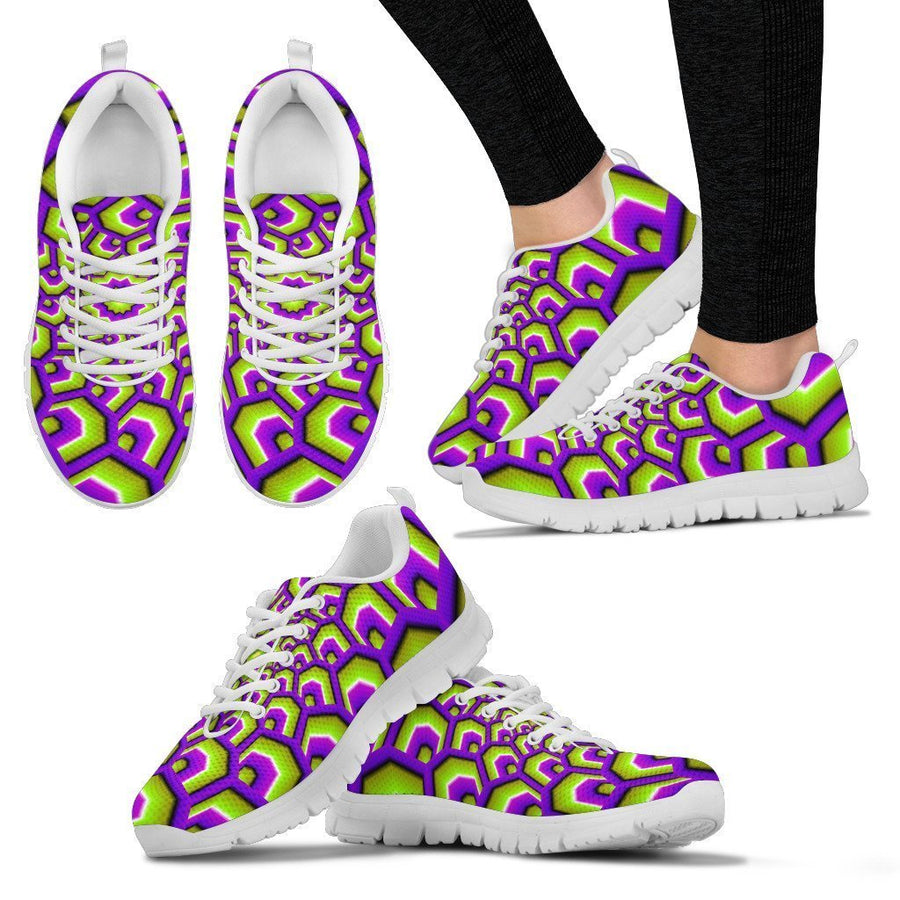 Green Hive Moving Optical Illusion Women's Sneakers GearFrost